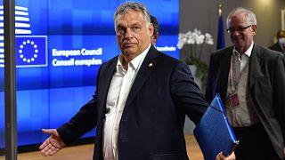 Orbán Viktor az EU-csúcson Brüsszelben 2020 júliusában
