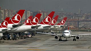 Turkish Airlines airplanes at Ataturk International Airport, in Istanbul