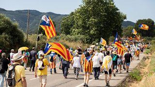 Manifestación contra la visita real a Cataluña