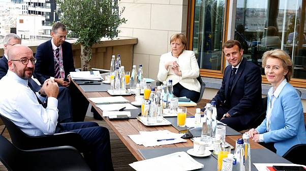 European Council President Charles Michel, German Chancellor Angela Merkel, French President Emmanuel Macron and European Commission President Ursula von der Leyen, July 19