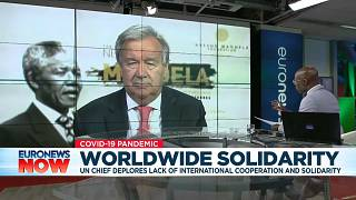 Euronews presenter Tokunbo Salako interviewing UN Secretary General António Guterres -