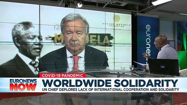 Euronews presenter Tokunbo Salako interviewing UN Secretary General António Guterres -