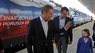 Polish Prime Minister Donald Tusk and Transport Minister Slawomir Nowak at a train station in Warsaw, Poland, May 19, 2012.