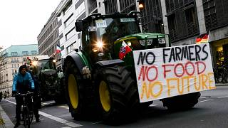 Farmers with tractors arrive for a protest against the German and European agriculture policy in Berlin, Nov. 26, 2019.