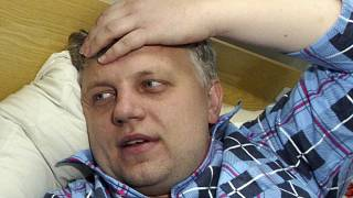 Journalist Pavel Sheremet at a hospital in Minsk, Belarus, after he was found badly beaten on Oct. 18, 2004