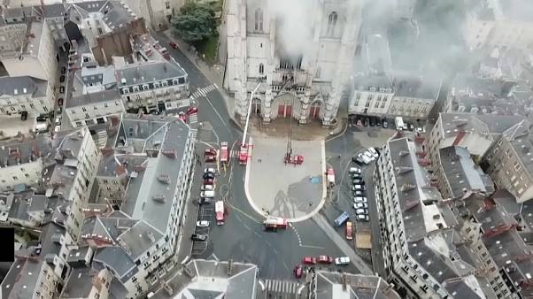 Fire hits 15th-century cathedral in western French city of Nantes