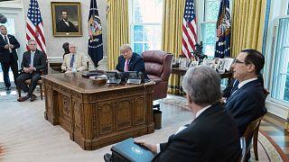 President Donald Trump meets Republican leaders of Congress with Treasury Secretary Steven Mnuchin in the Oval Office.