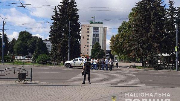 Фотография с места события, предоставленная Национальной полицией Украины.