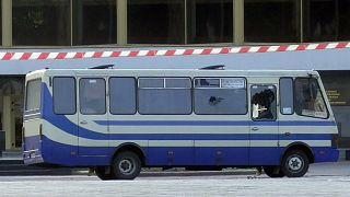 Una imagen del autobús secuestrado en Lutsk (Ucrania)