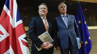 EU chief Brexit negotiator Michel Barnier, right, and David Frost, Europe adviser to the UK Prime Minister, in Brussels on July 9, 2020.