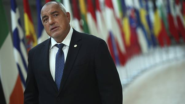 Bulgaria's Prime Minister Boyko Borissov makes a statement on arrival for an EU summit in Brussels, Monday, July 20, 2020.