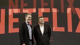 Netflix CEO Reed Hastings with Ted Sarandos chief content officer of Netflix
