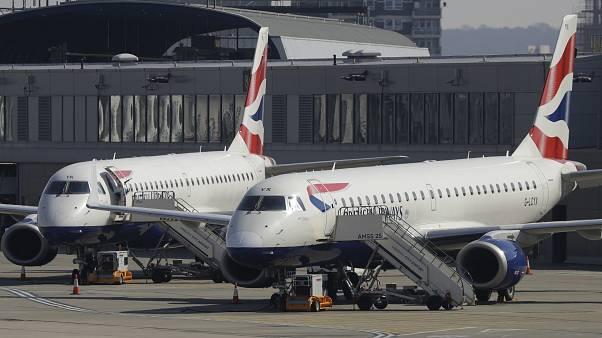 British Airways planes parked up at London City Airport, in east London, Thursday, March 26, 2020.