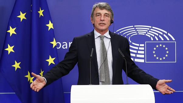 European Parliament President David Sassoli talks during a news conference following the recovery financial plan deal at the EU leaders summit, at the European Parliament.