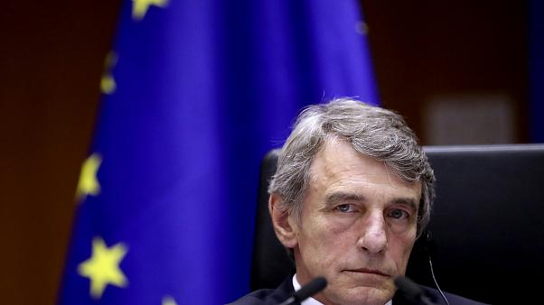 European Parliament President David Sassoli listens to an address during a plenary session at the European Parliament in Brussels, Wednesday, July 8, 2020.