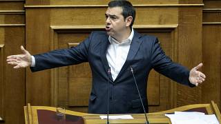 The President of left-wing Syriza party Alexis Tsipras speaks during a parliament session in Athens.