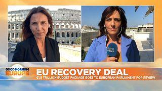 Euronews correspondents Giorgia Orlandi (left, in Rome) and Symela Touchtidou (right, in Athens)