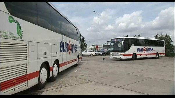 Varios autobuses de Eurolines en Praga (República Checa)