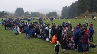 Una foto del 2015, l'anno della grande crisi immigratoria, al confine tra Austria e Germania.