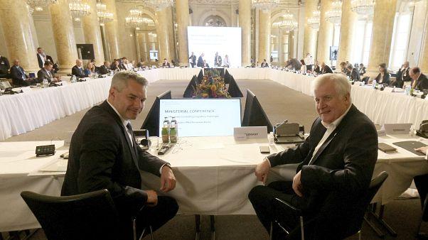 Austrian Interior Minister Karl Nehammer pose with German Interior Minister Horst Seehofer