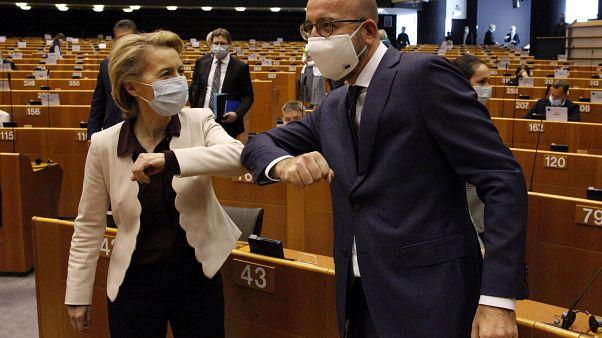 Ursula von der Leyen et Charles Michel au parlement européen, Bruxelles, le 23 juillet 2020