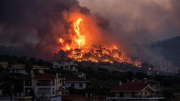 Fire burns near the village of Galataki near Corinth, Greece. July 22, 2020