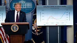 الرئيس دونالد ترامب يتحدث خلال مؤتمر صحفي في البيت الأبيض في واشنطن