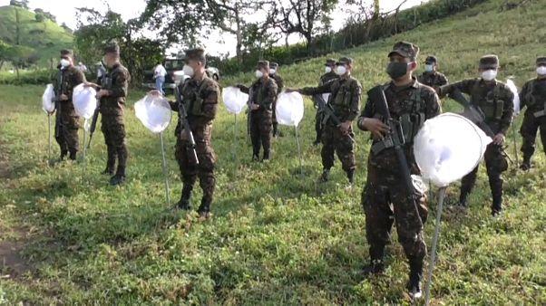 Un grupo de soldados recibe instrucciones antes de fumigar los campos