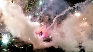 Smoke fills the sky as federal officers use chemical irritants and crowd control munitions to disperse Black Lives Matter protesters in Portland, Oregon, USA. July 22, 2020