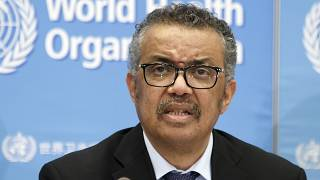 Tedros Adhanom Ghebreyesus addresses a press conference about the update on COVID-19 at the World Health Organization headquarters in Geneva, Switzerland, on February 24, 2020
