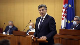 Prime Minister incumbent Andrej Plenkovic presents his new government's plan before the Croatian parliament.