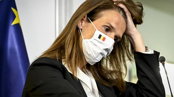Belgian PM Sophie Wilmes gestures during a news conference after a meeting of the National Security Council to discuss lockdown measures in Brussels. July 23, 2020.