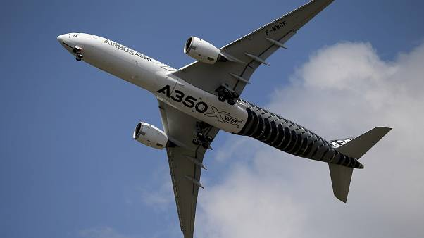An Airbus A350 performs a demonstration flight at the Paris Air Show