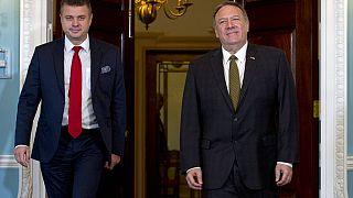 Urmas Reinsalu észt külügyminisztert fogadja amerikai kollégája, Mike Pompeo