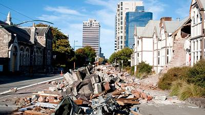A street after the deadly earthquake in Christchurch, New Zealand where 185 people were killed in 2011.