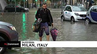 Fortes chuvas causam inundações em Milão