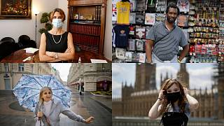 A combination of photographs featuring people who chose to wear and not to wear facial masks as a protective measure against the coronavirus