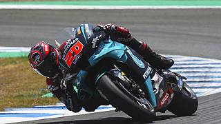 MotoGP rider Fabio Quartararo of France steers his motorbike during the Spanish Motorcycle Grand Prix at the Angel Nieto racetrack in Jerez de la Frontera, Spain.