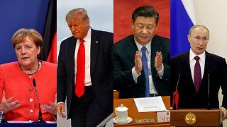 Слева направо: Ангела Меркель, Дональд Трамп, Си Цзиньпин, Владимир Путин