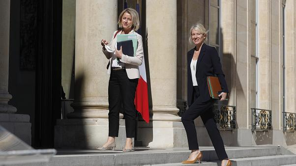 French Ecological Transition Minister Barbara Pompili (L) and French Junior Minister for Biodiversity Berangere Abba