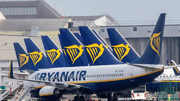 In this file photo taken on March 23, 2020 Ryanair passenger jets are seen on the tarmac at Dublin airport.