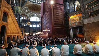 خطبة وصلاة الجمعة في آيا صوفيا، في منطقة السلطان أحمد التاريخية في اسطنبول، يوم الجمعة 24 يوليو 2020