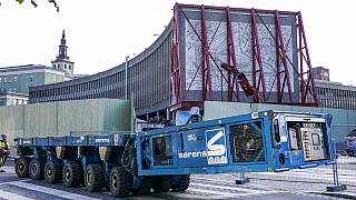 The art work being prepared to be removed from the Y-block in the government quarter in Oslo - July 27, 2020,