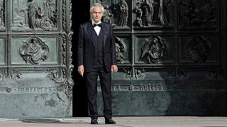 Andrea Bocelli performs outside Milan's Duomo Catherdal on May 26, 2020