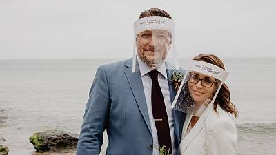 World's first couple get married in plastic-free PPE