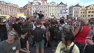 I manifestanti dell'industria della musica a Praga