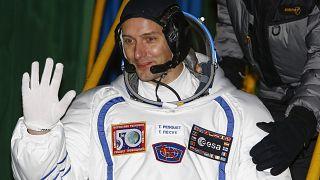 French astronaut Thomas Pesquet prior the launch of Soyuz-FG rocket at the Russian leased Baikonur cosmodrome, Kazakhstan, Nov. 17, 2016.