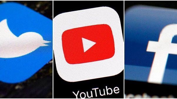 نشان شبکههای اجتماعی فیسبوک، یوتیوب و توئیتر