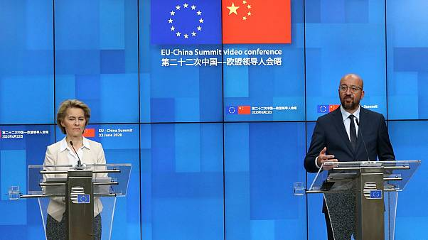 European Council President Charles Michel, and European Commission President Ursula von der Leyen participate in a media conference at the EU-China summit  June 22, 2020.