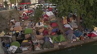 Un camp de migrants à Aubervilliers (France)